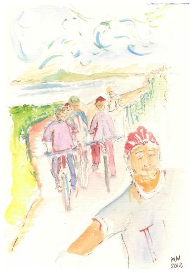 Radfahrer um den See